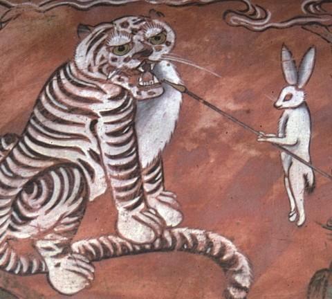담배피는 호랑이, 수원 팔달사 벽화