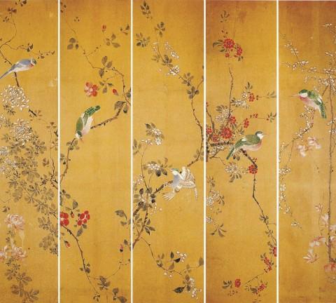 화조도, 지본채색, 10폭 중 5폭, 각 28X113.5cm, 경기대학교박물관