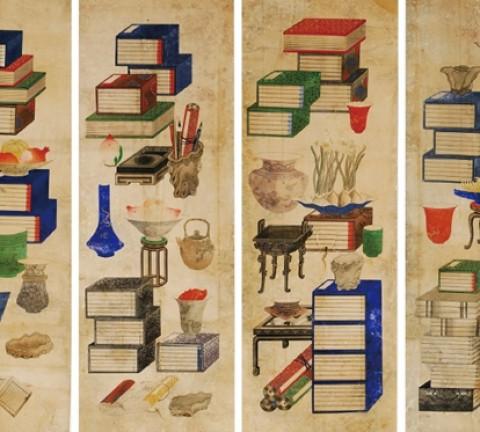 (그림3) 책거리, 이응록(李膺祿, 1808~1883 이후), 1864~1871년, 종이에 채색, 6폭 병풍, 각 43×120cm, 경산시립박물관