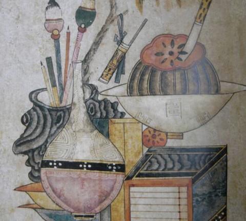 (도 8) <책거리도> 19세기 종이에 채색, 62×40㎝, 개인소장