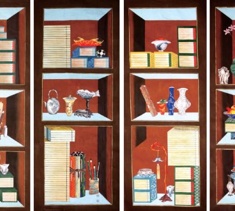 책가도 4폭 23×63inch, 종이에 채색