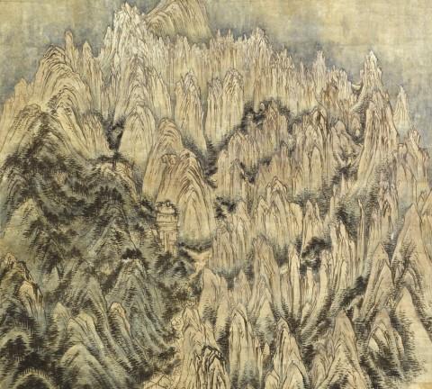 (도 1) 정선, <금강전도>, 1734년, 지본담채, 59.0×130.7㎝, 삼성리움미술관