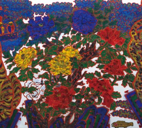 <도판6> 범과 모란, 종이에 채색, 1983, 이영미술관