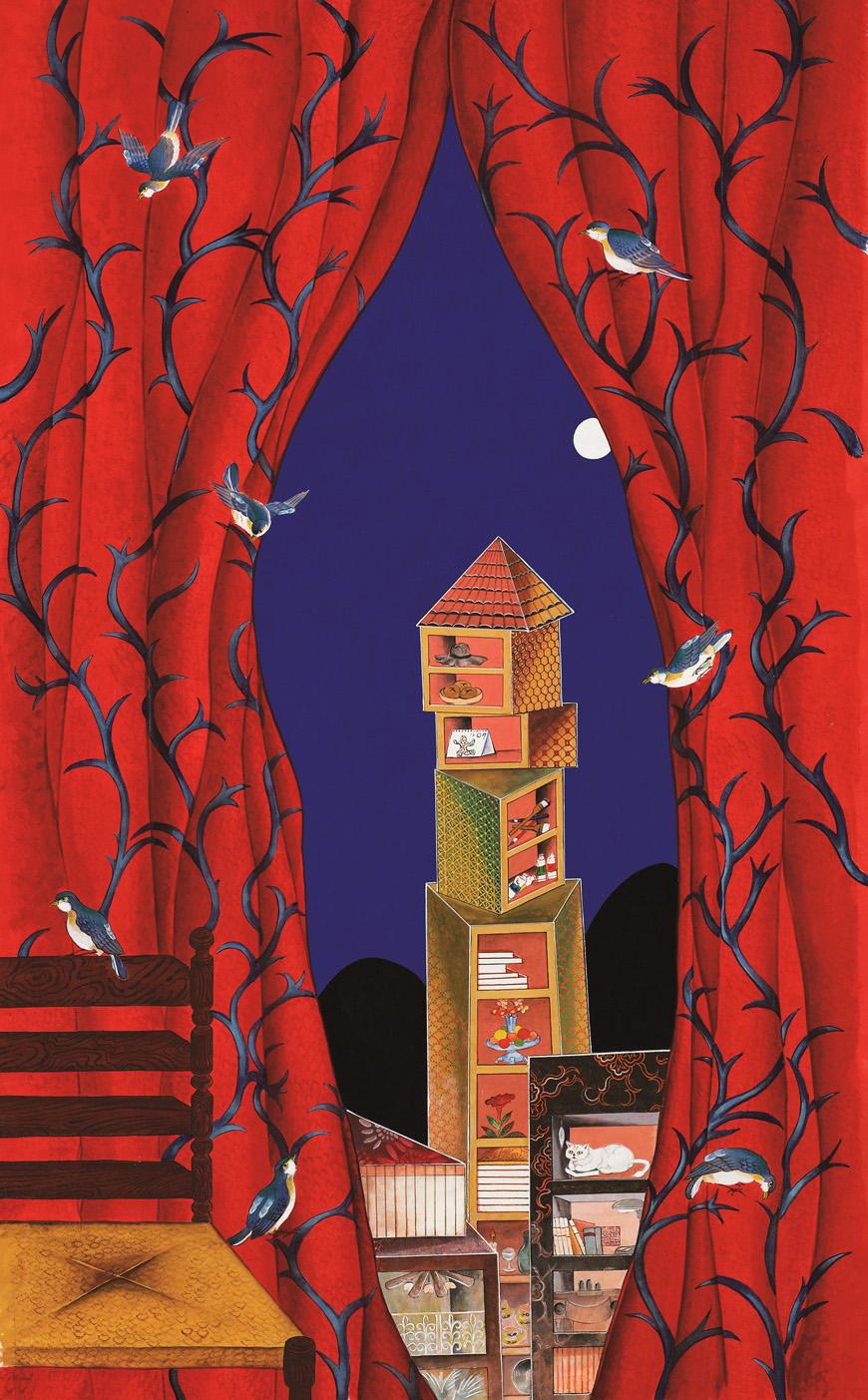 커튼이 있는 책가도(붉은 커튼 책가도) 70×113㎝ 장지에 석채, 분채