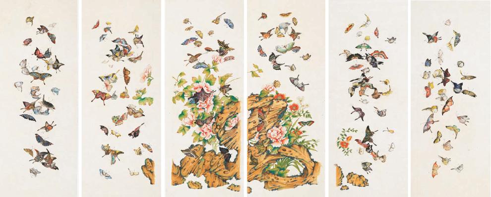 군접도 6폭 병풍 51×142㎝ 종이에 채색