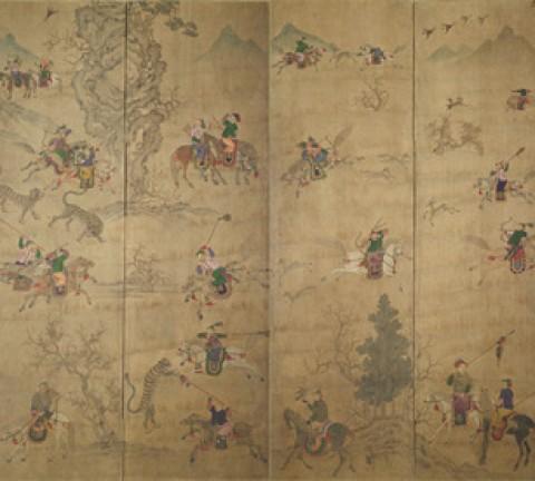 도1. <호렵도>12폭 병풍, 19세기, 지본채색, 각 폭 91×49㎝, 계명대학교 행소박물관 소장