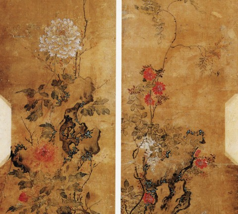 도 1. <화훼괴석도 花卉怪石圖>, 19세기 말~20세기 초, 지본채색, 123.0×46.0㎝, 서울역사박물관 소장