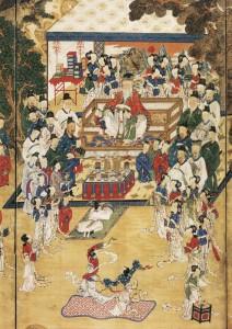 도 6. <곽분양행락도> 부분, 19세기, 견본채색, 131.0×415.0㎝, 삼성미술관 Leeum 소장