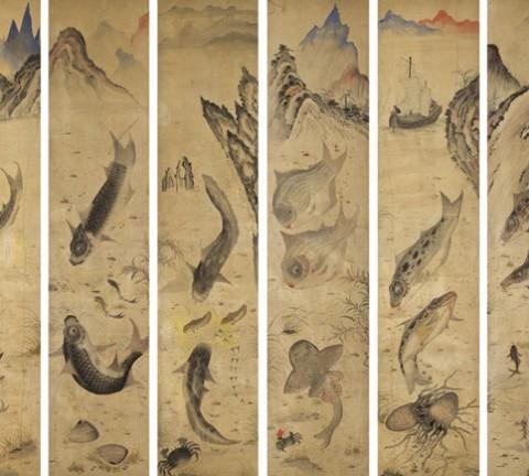 도 1. <어해도10폭 병풍>, 견본채색, 각 117×26cm, 가회민화박물관 소장