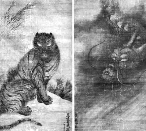 (도24) 용호도, 중요문화재, 남송 1265년, 각 147.8×94.0, 일본 大德寺 소장