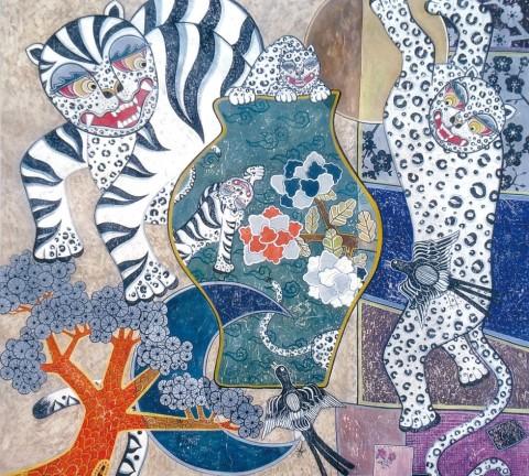 최남숙 <가족 '14-1> 99cm x 103cm, 순지 위에 수간채색, 2014
