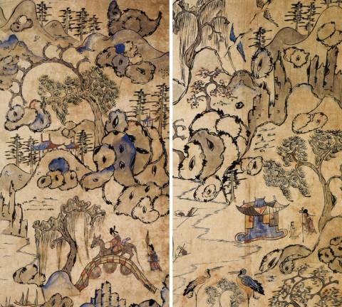 도 2. 소상팔경도(8폭병풍) 원포귀범(좌) 송하문동(우) 19세기 말, 종이에 채색, 73.4×32.4cm, 개인(김세종)소장