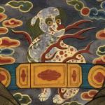 도 9. <김중만 초상> 사자 흉배, 18세기, 종이에 채색, 경기도박물관 소장