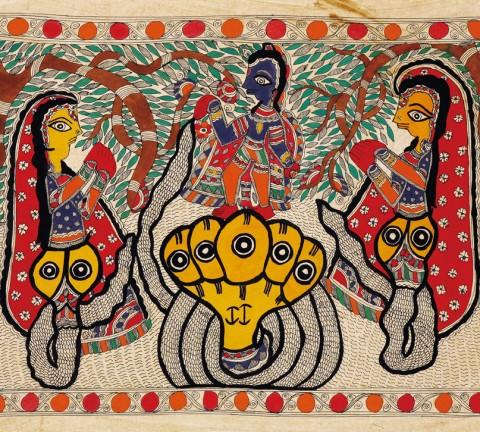 도 1. 크리슈나와 뱀 여신들, 종이에 채색, 51.5×71.0㎝