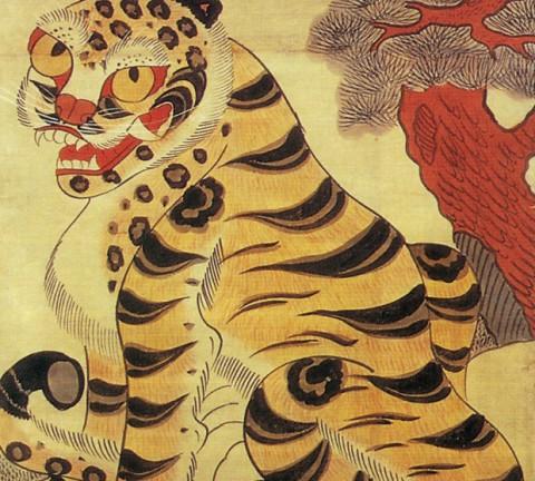 도 1. <까치호랑이>, 1880년경, 종이에 채색, 96.0×57.0㎝, 파리 국립기메동양박물관소장