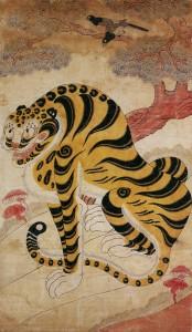 도 6. <까치호랑이>, 19세기, 종이에 채색, 157.0×91.0㎝, 삼성미술관 Leeum소장
