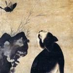 도 4. 묘접도 猫蝶圖, 18세기, 지본수묵담채, 68.2×31.5㎝, 일본민예관