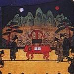 도2. '기사경회첩 耆社慶會帖', 제1장면 '영수각친임도' 부분 1744-45, 비단에 먹과 채색, 43.5×67.8cm, 국립중앙박물관