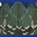 도3.일월오봉도 창호. 비단에 먹과 채색, 전체 147.8×232.6cm, 창덕궁