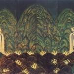 도9. 오봉병 五峯屛, 8첩, 비단에 먹과 채색, 162.6×337.4cm. 삼성미술관 리움