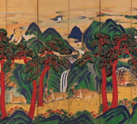 도15. 십장생도병十長生圖屛, 10첩, 비단에 먹과 채색, 각 첩 145×58cm, 국립중앙박물관