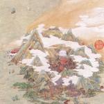 도18. 문백인 (文伯仁 1502~1575) 방호도 方壺圖 부분, 1563. 종이에 먹과 채색, 120.6×31.8cm. 대북(臺北) 고궁박물원