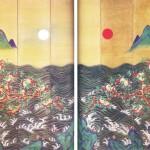 도22. 일월반도도병 日月蟠桃圖屛 4첩 한 쌍, 비단에 채색, 315.0×257.2cm, 국립고궁박물관