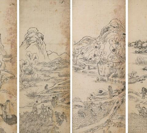경직도 초본 6폭병풍, 20세기 전반, 지본담채, 각 89.5x35.6cm