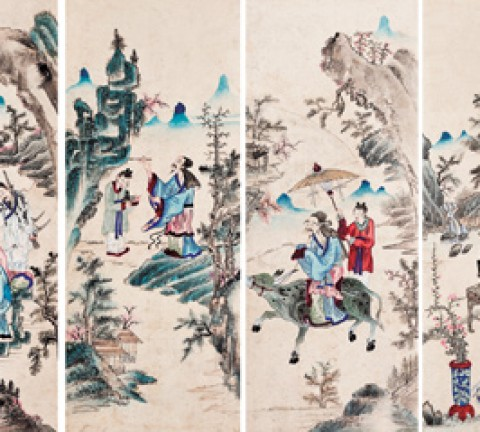고사인물도, 지본채색, 69×28cm×10, 20세기