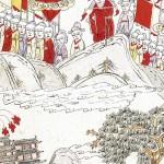 도 5. , 고사인물도 8폭병풍, 종이에 채색, 74.5×34.5cm, 가회민화박물관