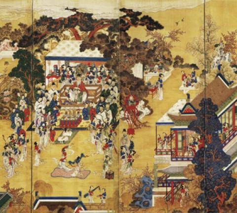 도 1. <곽분양행락도> 8첩 병풍, 19세기, 견본채색, 131.0×415.0㎝, 삼성미술관 Leeum