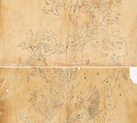 가회민화박물관 소장 계공가족도, 두 장의 초본으로 구성되어 있다.