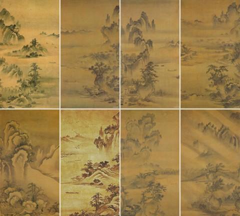 도 2. 작자미상, <소상팔경도>, 16세기 전반, 지본수묵, 각 91.0×47.7cm, 국립진주박물관