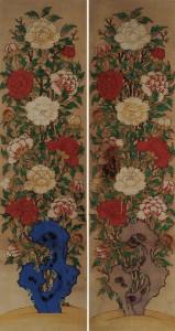 도 6. <모란도> 8첩 병풍 中, 19세기 말, 각 204×66㎝, 국립고궁박물관