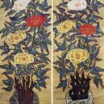 도 7. <모란괴석도> 8첩 병풍 中, 19세기 말~20세기 초, 각 125×44㎝, 개인