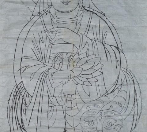 도 1) 산신도 초본, 각 55×110cm, 가회민화박물관 소장