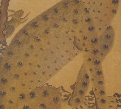 호묘도 45×80㎝ 옻칠순지에 먹, 분채, 봉채