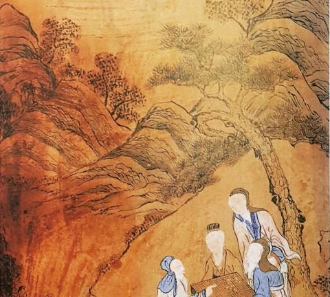 도 1 <상산사호도>, 고사인물도 병풍 6폭, 지본채색, 31×61cm, 계명대학교박물관