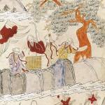 도 4 <상산사호도>, 고사인물도 병풍 10폭, 지본채색, 69×28cm, 가회민화박물관