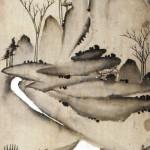 도 5 <상산사호도>, 산수도 병풍 8폭, 지본담채, 134×27.5cm, 영남대박물관 얼핏 한 폭의 산수화로 보이지만 화면의 하단 소나무 아래에 바둑을 두는 네 사람이 그려져 상산사호를 그린 것임을 알 수 있다.