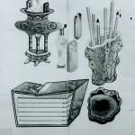 도 1. 이형록, <문방기명도>, 조선 19세기 중반, 지본담채, 28.1×26.7㎝, 간송미술관