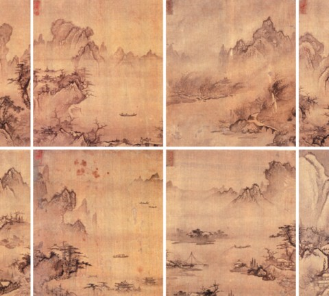 圖1. 안견 전칭, 《소상팔경도》, 비단에 수묵, 각 35.2 x 31.4cm, 국립중앙박물관 소장