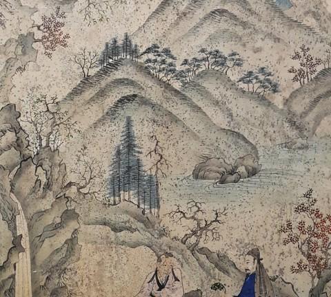 도 1. <수양채미도>, 고사인물도 10폭병풍, 지본채색, 40×89.5cm, K 옥션