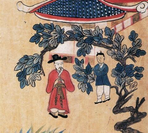 도 1. <삼고초려도>, 설화도 병풍, 지본채색, 39×101cm, (《朝鮮時代의 民畵 2》 藝園 도판 230)