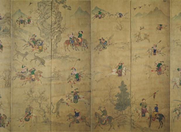 <도 1> <호렵도> 12폭 병풍, 19세기 중엽, 종이에 채색, 각 폭 113㎝×24㎝, 계명대학교 행소박물관 소장