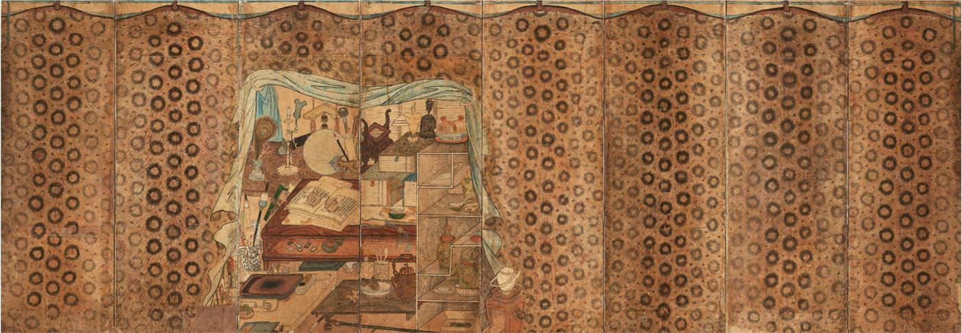 ▲도3. 호피장막도, 8폭 병풍, 19세기, 종이에 채색, 128.0×355.0㎝, 삼성미술관 리움.