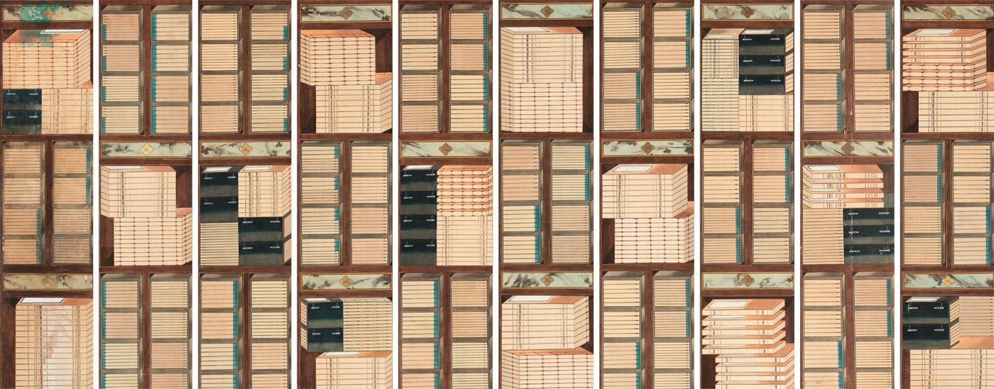 ▲도1. 책가도, 10폭 병풍, 19세기 후반, 종이에 채색, 각 161.7×39.5㎝, 국립고궁박물관