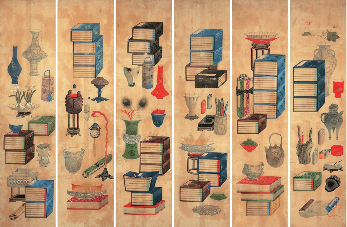 ▲도2. 책거리, 6폭 병풍, 이형록, 1864년 이전, 종이에 채색, 각 154.5×38.5㎝, 국립민속박물관